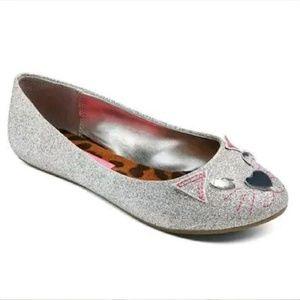 BOGO Silver Glitter Cat Face Dress Flats